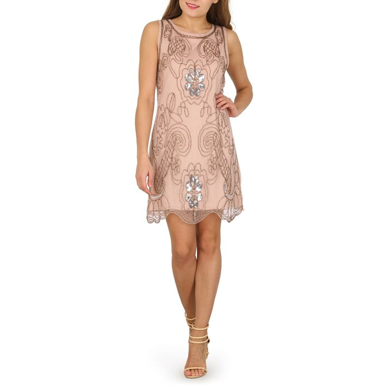 Mela Beige vintage beaded shift dress
