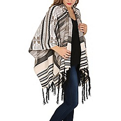 Mela - Multicoloured aztec knit tassel shawl
