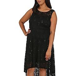 Samya - Black lace waterfall dress