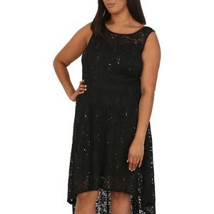 Plus Size Samya Black Lace Waterfall Dress