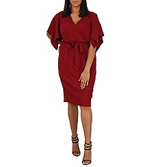 Samya - Dark red kimono sleeve dress waist tie