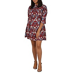 Samya - Dark red floral print skater dress