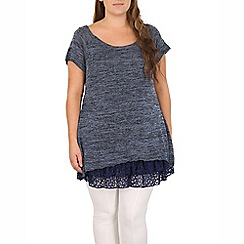 Samya - Blue knit tunic top frill hemline