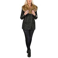 Izabel London - Black faux leather biker jacket