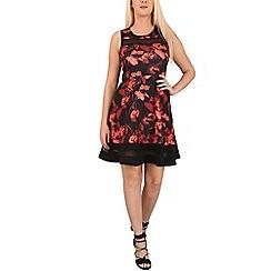 Izabel London - Red floral printed skater dress