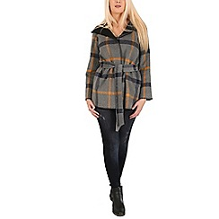 Izabel London - Grey checked blanket coat