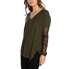 Alice & You - Khaki v-neck knitted jumper