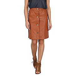 Cutie - Tan buttoned leather look skirt
