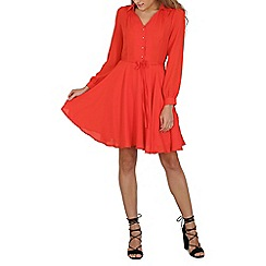Cutie - Orange a-line shirt dress