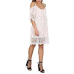 Stella Morgan - Cream cold shoulder lace swing dress