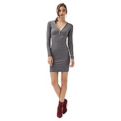 Jane Norman - Light grey rib zip neck dress