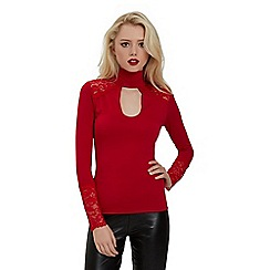 Jane Norman - Red lace trim choker top