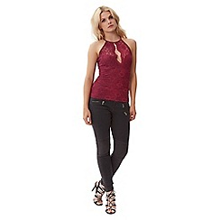 Jane Norman - Red lace racer neck top