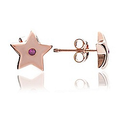 Chavin - Rose Gold Star Studs with Ruby Gem
