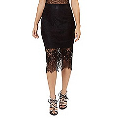 Jane Norman - Black stripe lace pencil skirt