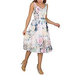 Jolie Moi - Green floral print textured prom dress