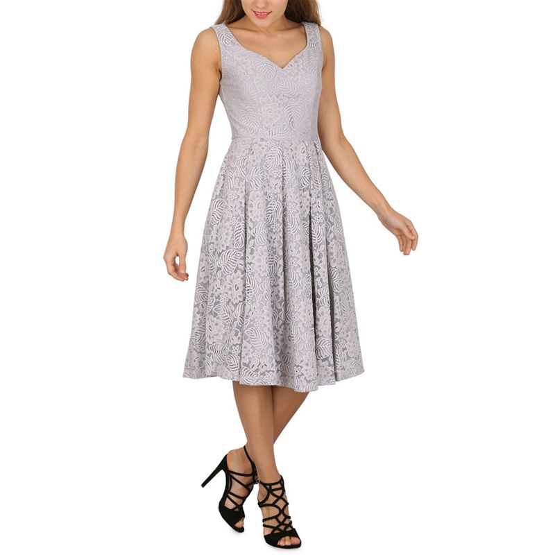 Jolie Moi Grey Sweetheart Neck Lace Prom Dress, Womens,