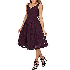 Jolie Moi - Dark purple sweetheart neckline lace prom dress