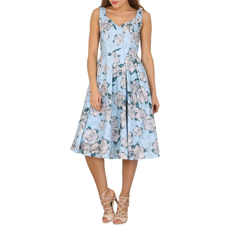 Jolie Moi Blue Floral Print Textured Prom Dress, Womens,