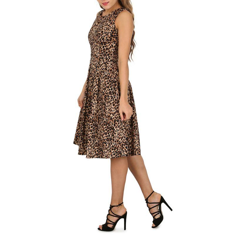 Jolie Moi Brown leopard print pleated 50s dress