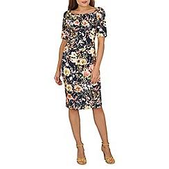 Jolie Moi - Navy half sleeve printed shift dress