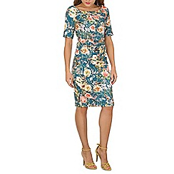 Jolie Moi - Turquoise half sleeve printed shift dress