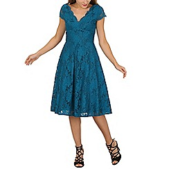 Jolie Moi - Turquoise cap sleeve scalloped lace dress