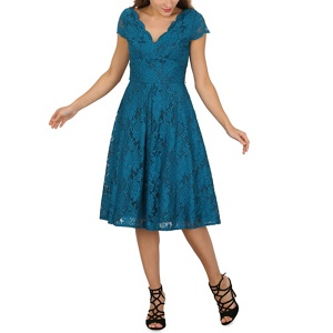 Jolie Moi Turquoise cap sleeve scalloped lace dress