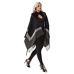 Jane Norman - Grey faux fur trim cardi cape