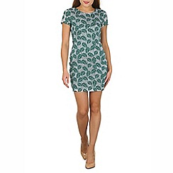 Tenki - Green leaf print shift dress