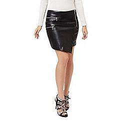 Jane Norman - Black pu assymetric skirt