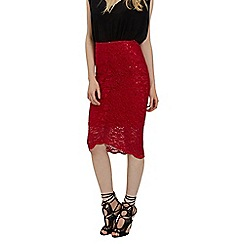 Jane Norman - Red v-hem lace sequin skirt