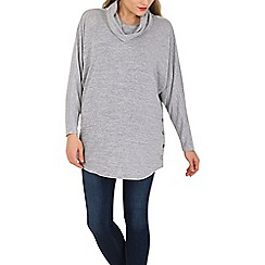 Voulez Vous - Light grey cowl neck batwing top