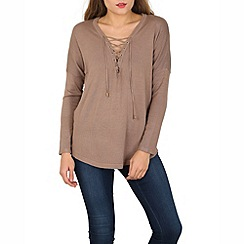 Voulez Vous - Brown lace up jumper