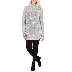 Izabel London - Grey polo neck cable knitted dress