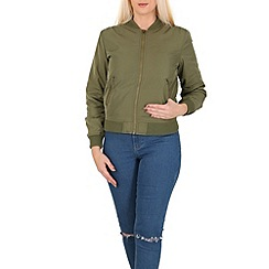 Izabel London - Khaki zip up bomber jacket
