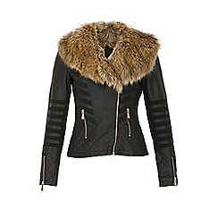 Izabel London - Black faux fur collar leather jacket