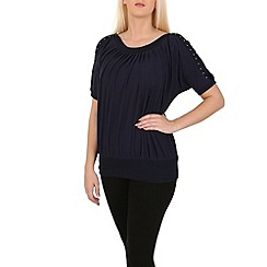 Izabel London - Navy contrast trim top
