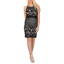 Izabel London - Black crochet detail overlay dress