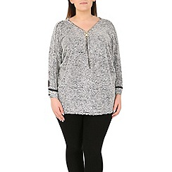 Samya - Silver batwing textured tunic top