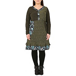 Samya - Green patch work knitted dress