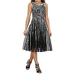 Stella Morgan - Black print mesh panelled prom dress