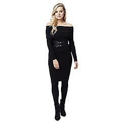 Jane Norman - Black deep bardot jumper dress