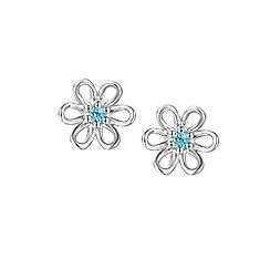 Amore Argento - Blue gem flora earrings
