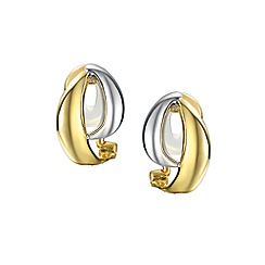 Amore Argento - Silver two colour hoop clip earrings