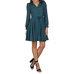 Cutie - Turquoise a-line shirt dress