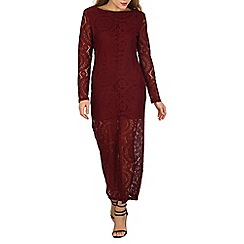 Mela - Dark red long sleeve lace maxi dress