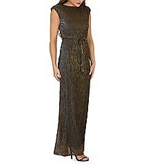 Mela - Bronze shimmer tie maxi dress