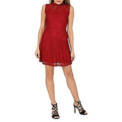 Mela - Dark red floral lace skater dress