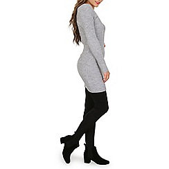 Mela - Grey bardot knitted dress